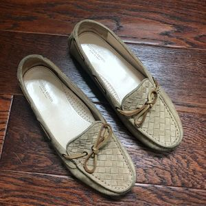 Bottega Veneta Tan Woven Suede Driving Loafers